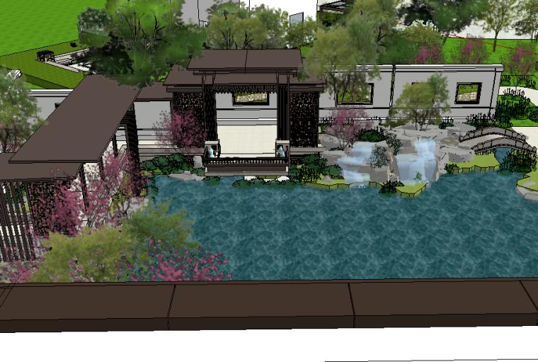 现代中式居住庭院景观模型设计