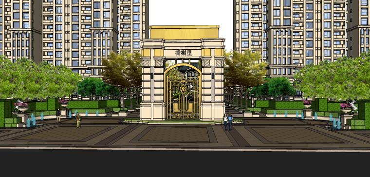 法式居住区景观su模型(售楼处景观)