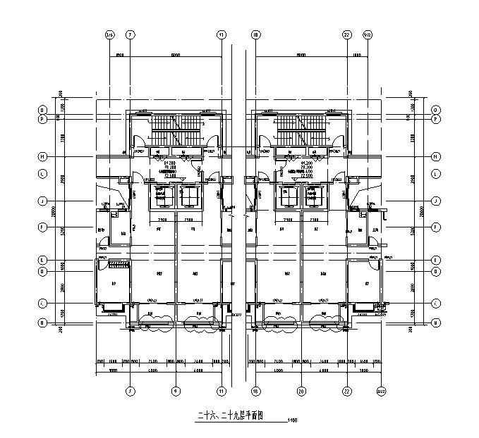 [安徽]玻璃幕墙深化设计施工图(2017)-26-29层平面图