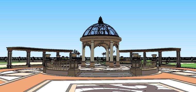 新古典主义居住区景观模型 6