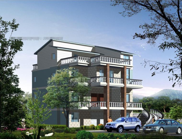 四层现代风格别墅建筑方案设计文本(包含效果图+CAD)