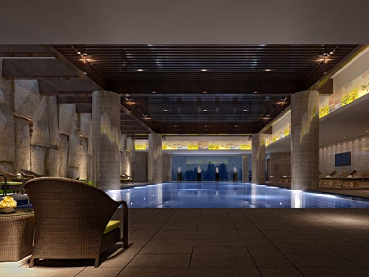 室内游泳池3D模型下载