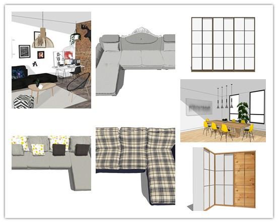 懒人整合包,32套北欧风格混合家具【SU】_1