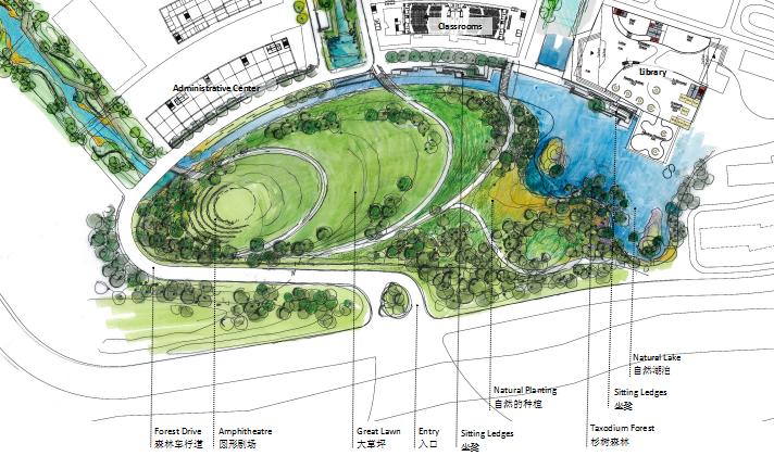 [上海]现代风格自然生态大学校园景观规划设计方案_9