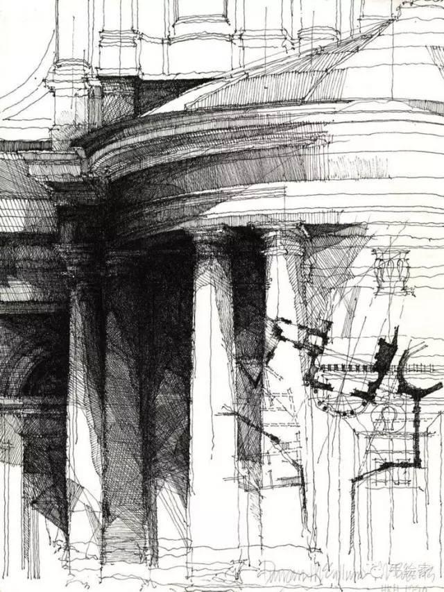 百年经典建筑设计手绘图_14