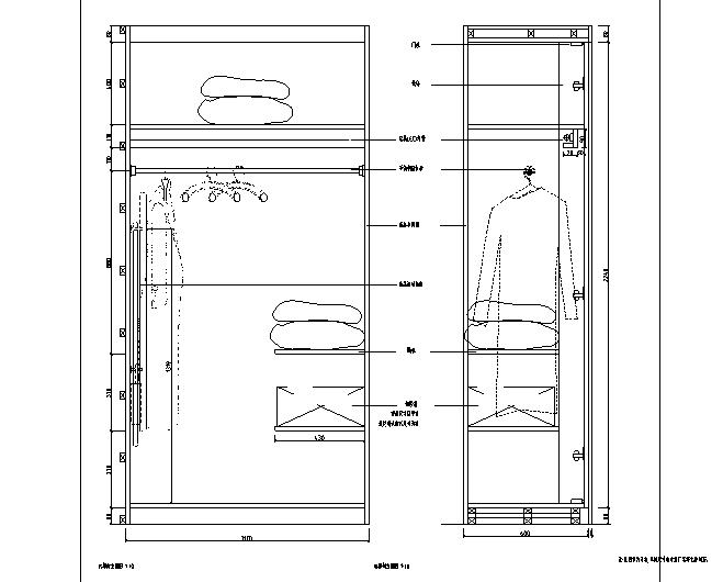 [山东]青岛温泉酒店全套施工图(附效果图)-衣柜剖面图