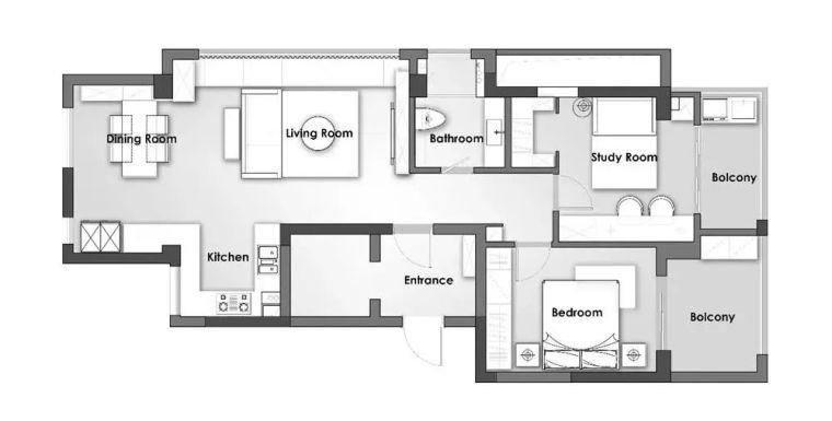 89㎡简约小二房,喜欢他家客餐厅,设计得真实用!