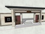 入户新中式风格大门模型设计