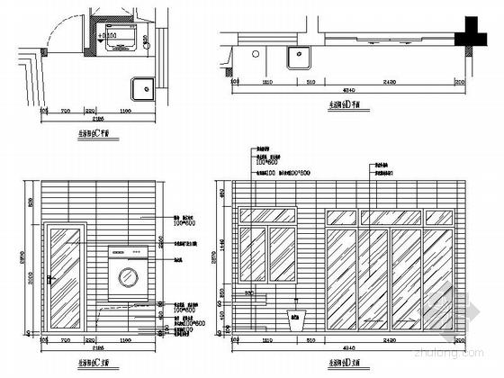 [湖南]温馨现代130平四居室室内装修施工图生活阳台立面图