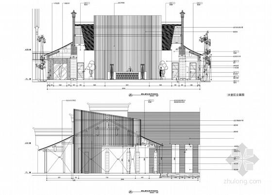 [浙江]水乡古镇国家旅游景区中式风格酒店设计方案图大堂区立面图