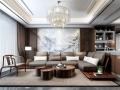 新中式客厅沙发茶几吊灯组合3D模型     ID:229853