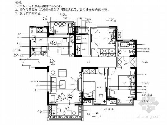 [河南]时尚清新简约美式风格三居室室内装修施工图(含效果)