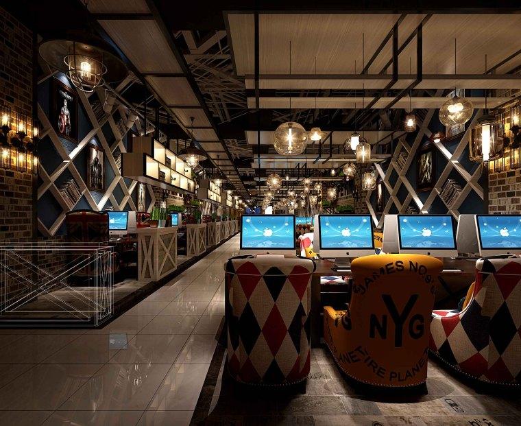 英伦风网吧网咖室内空间设计施工图(附效果图)-2