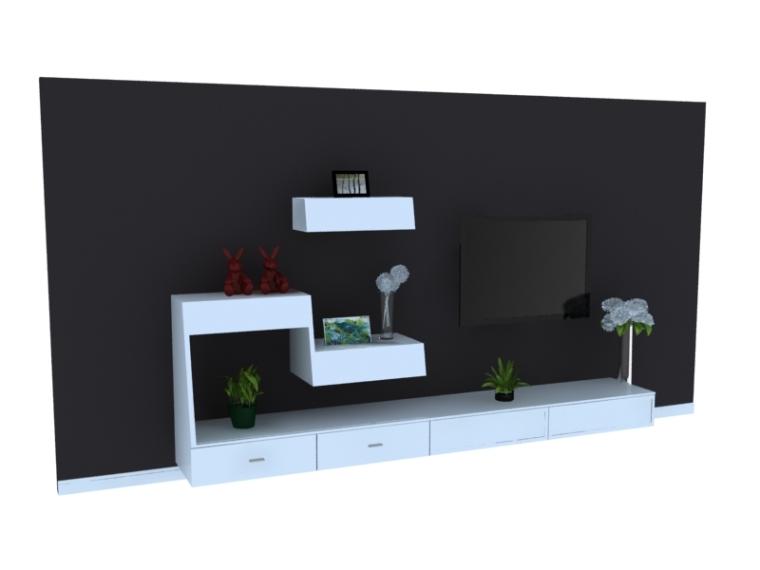 黑白简约电视墙3D模型下载