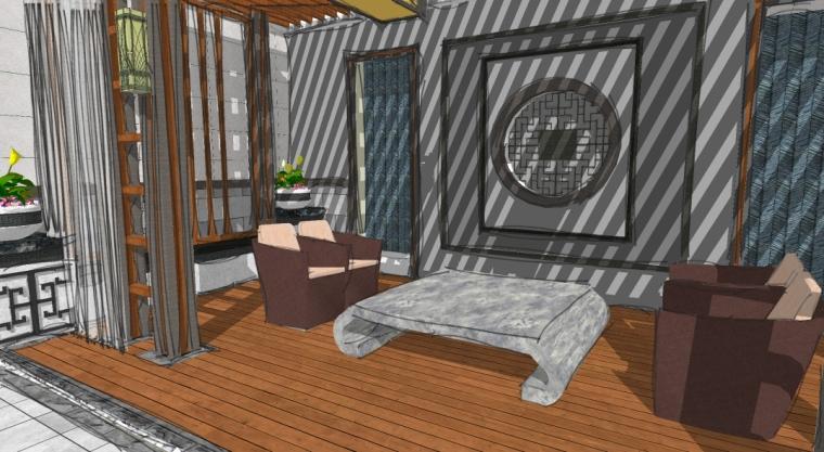 新中式庭院设计SU模型-休憩场所