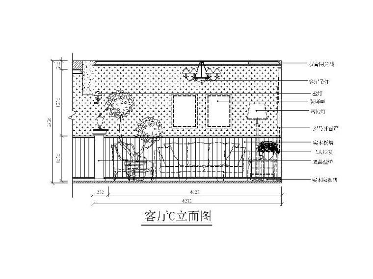 田园风格复式楼设计CAD施工图(含效果图)立面图