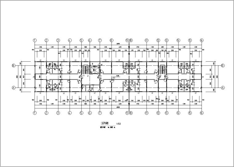 5套现代多层宾馆酒店建筑设计施工图CAD-多层宾馆酒店建筑设计平面图2