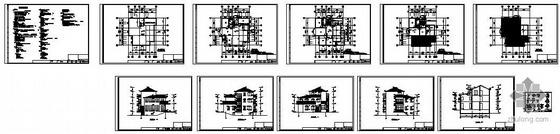 宁波某三层框架别墅建筑结构图