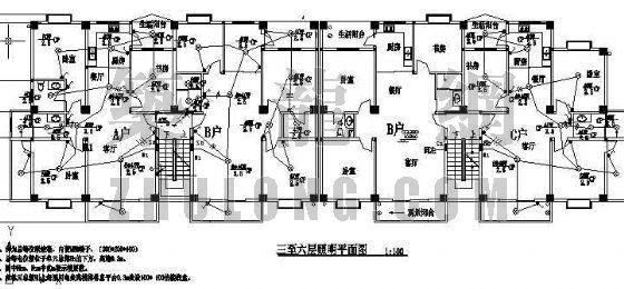 六层商住楼强弱电图纸