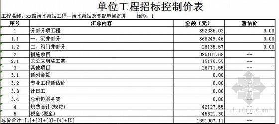 江苏某污水泵站及变配电间沉井工程清单报价实例