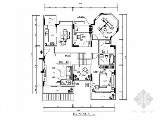 [广东]精品黑白风格两层别墅样板房室内装修施工图(含效果)