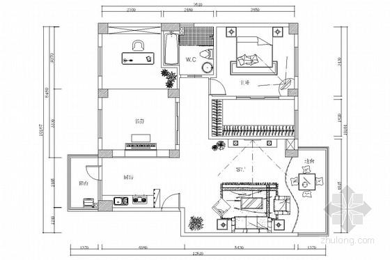 交通便利小区现代风格一居室装修图
