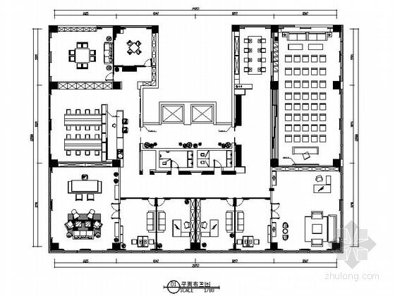 [山东]某现代中式办公室设计方案图