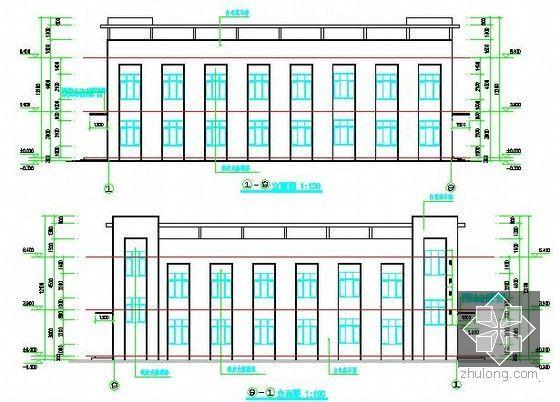 [安徽]学生公寓及食堂建筑安装工程预算书(含施工图纸)-食堂立面图