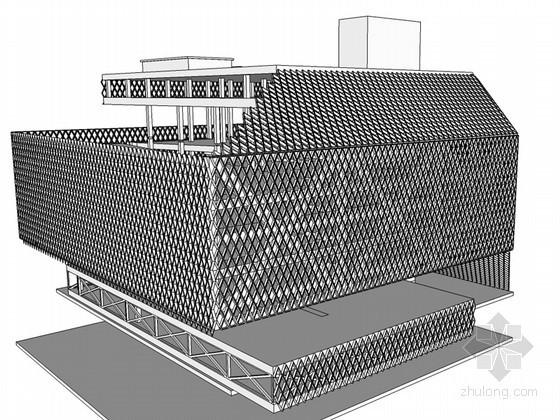 网格状建筑SketchUp模型下载