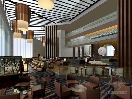 [苏州]现代苏式风格会议酒店设计装饰方案图大堂吧效果图