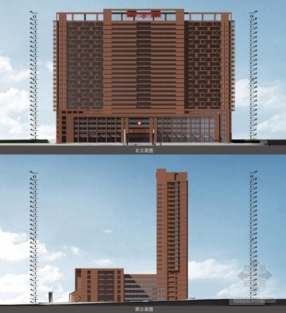 [广西]红砖立面高层儿童医院建筑设计方案文本-红砖立面高层儿童医院立面图