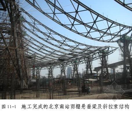 大跨度曲线型悬垂钢梁及预应力斜拉索安装工法