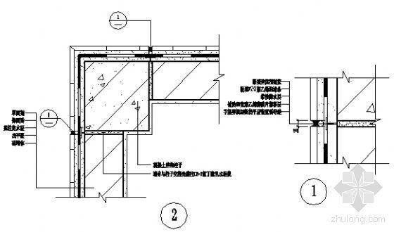 墙体结构CAD资料下载-墙体与结构柱子交接处密封式构造