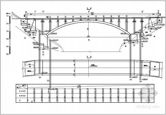 某公路等截面悬链线箱形拱桥设计图