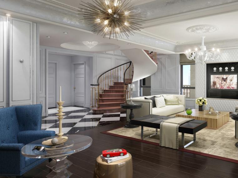 欧式客厅3D模型下载-欧式客厅