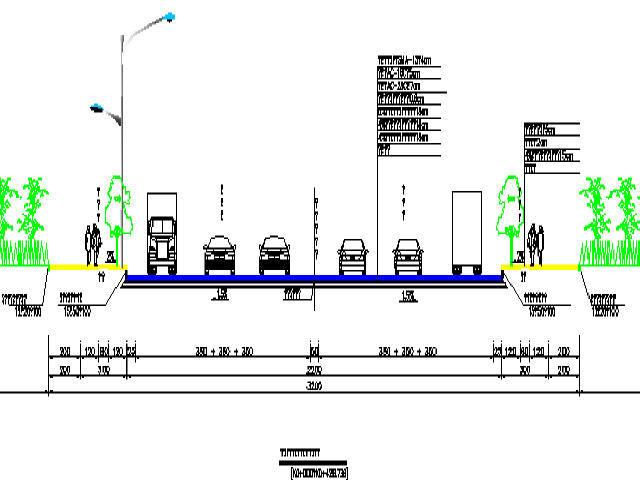 [四川]32米、36米宽城市主干路工程设计图纸218张CAD(含照明交通管线电力)