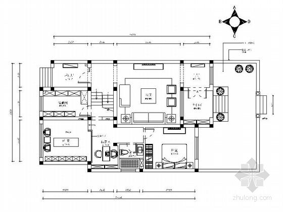 [江苏]新中式风格三层别墅室内装修施工图(含效果图)