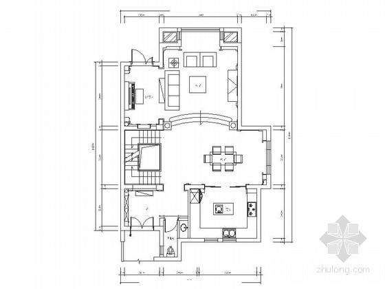 [江苏]精品风景区高贵典雅欧美风格混搭联体别墅装修室内设计施工图(含效果)