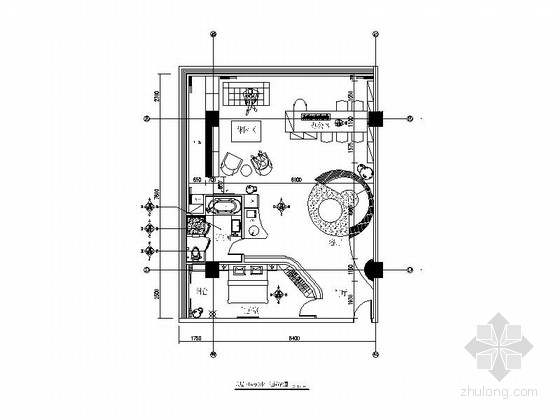 [徐州]现代感十足soho工作室内部空间装修设计CAD施工图(含效果图)