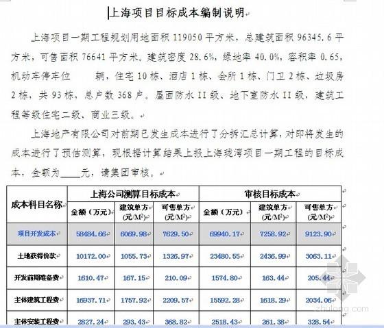 上海某建设项目目标成本测算实例(2011-03)