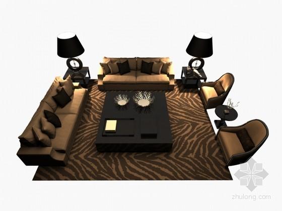 沙发茶几组合3D模型下载