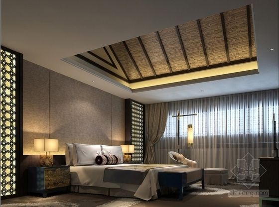 某会所现代中式套房室内装修效果图