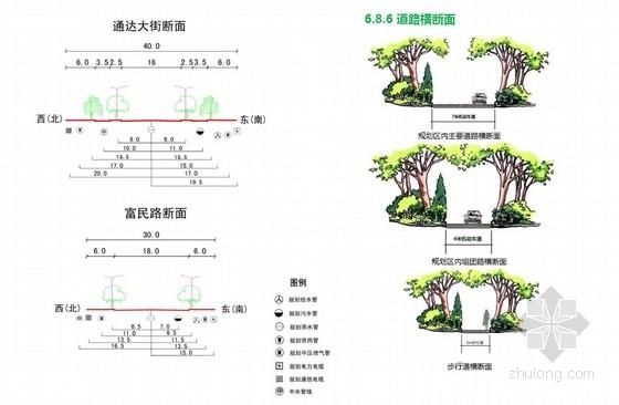 [内蒙古]国际社区中心花园景观方案规划-道路断面分析