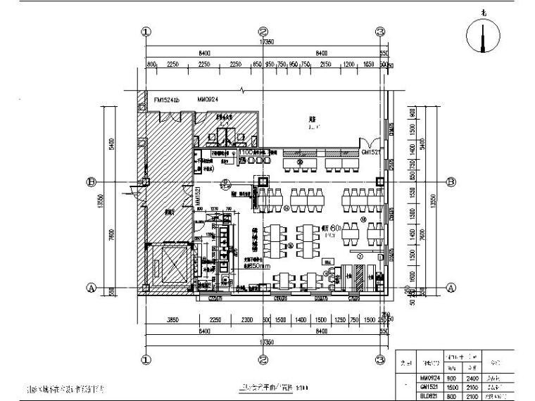 [北京]某医疗器械公司食堂装修设计施工图(含效果图)_1