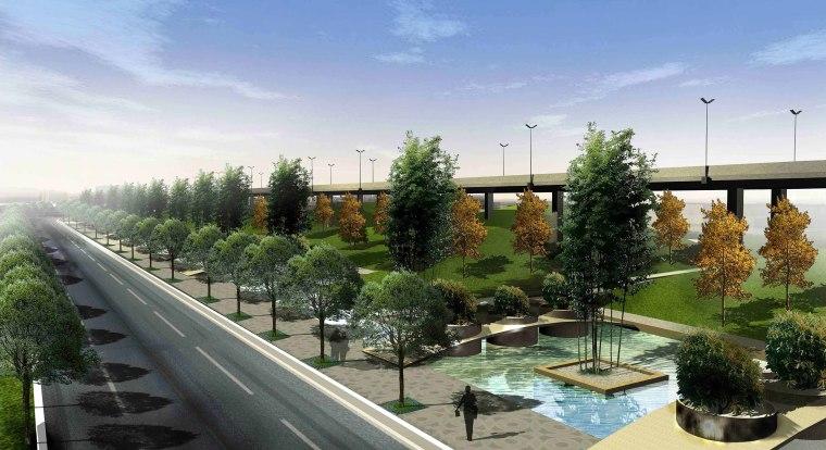[江苏]苏州市沪宁高速公路西出入口景观规划方案设计(现代风格)-B段透视图1