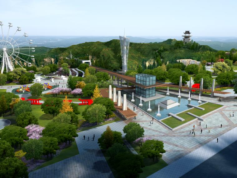 生态游乐园景区入口广场景观效果图PSD分层素材