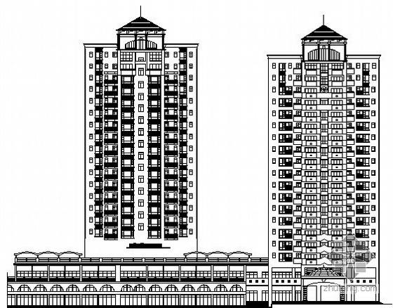 某小区商业步行街A栋18层临街商住楼建筑施工图