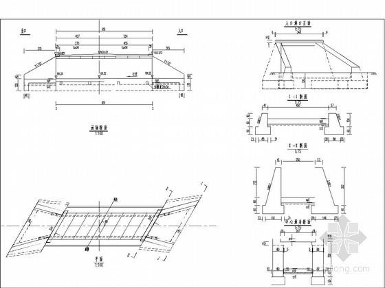 1-2.5米钢筋混凝土盖板涵布置图(斜交30度)