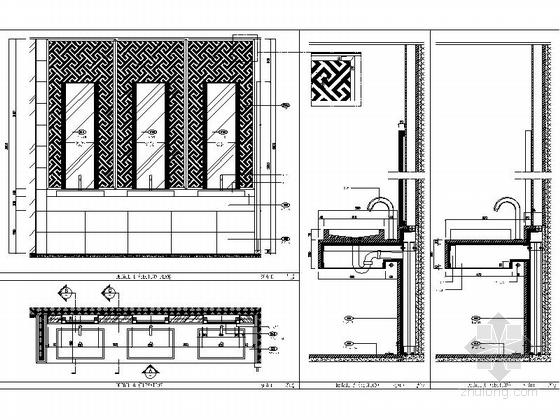 [上海]豪华现代酒店卫生间电梯厅走道室内装修施工图(含效果)大样图