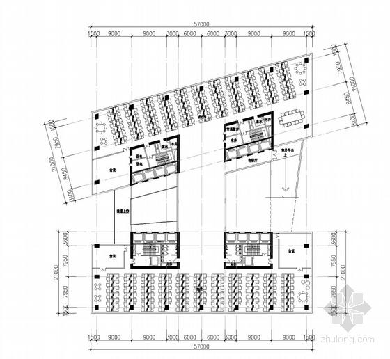 现代风格超高层知名企业办公楼平面图